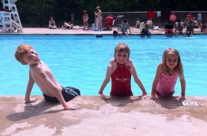 The kids enjoying the Memorial Park pool!